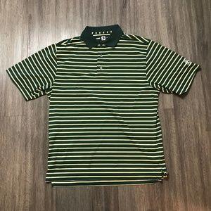 Foot Joy Green Yellow Stripes Golf Polo Shirt